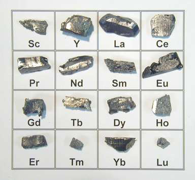 Photo of samples of rare earth elements, courtesy of Cleanbreak(dot)ca.