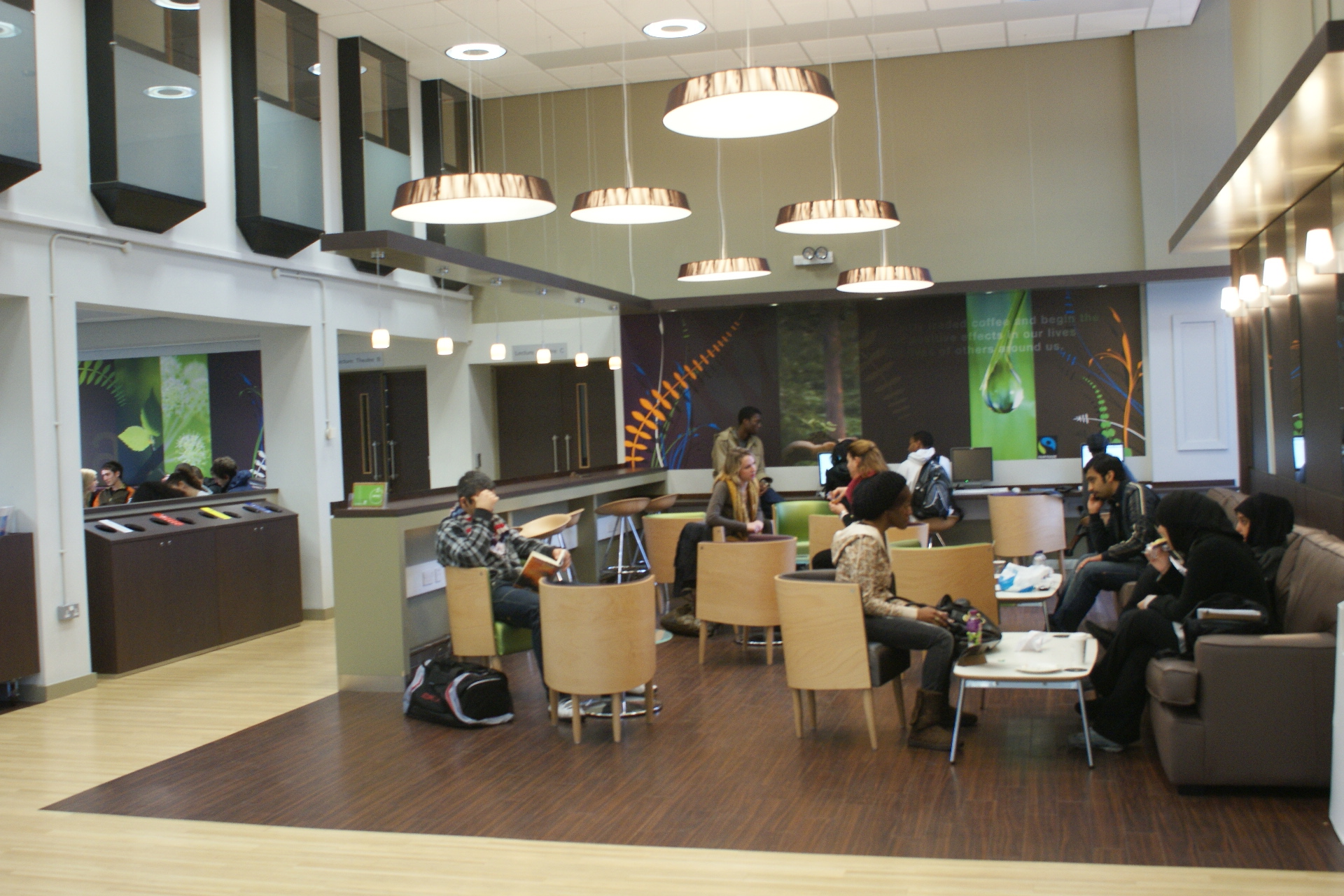 View of the café now in use by the University students and staff.