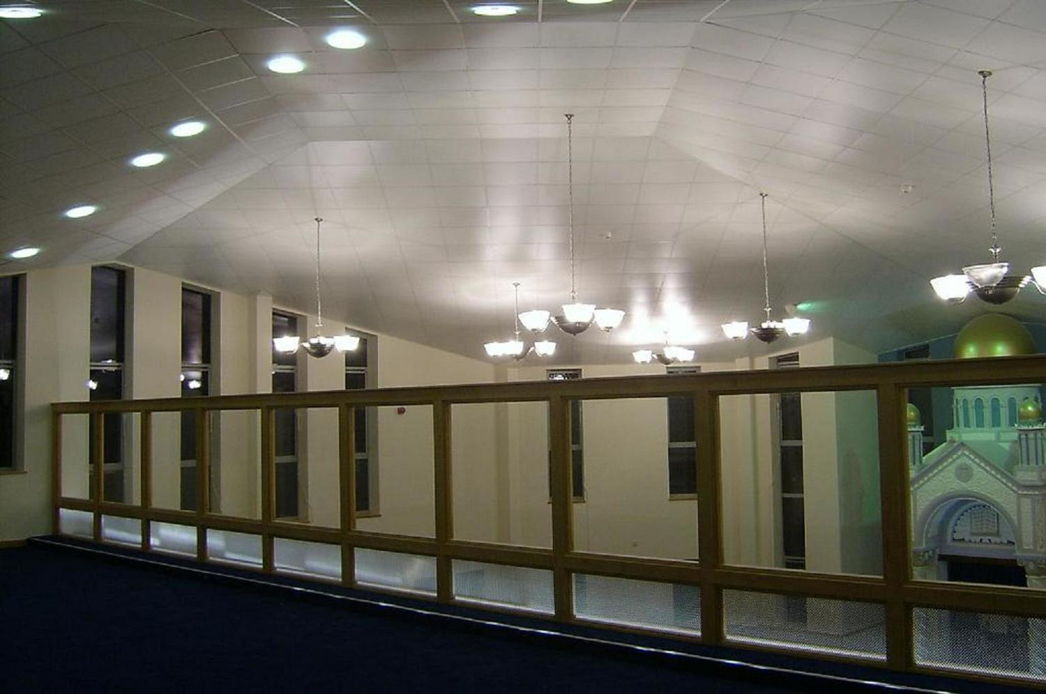 View from the ladies gallery showing the faceted ceiling designed to achieve the best acoustic performance.