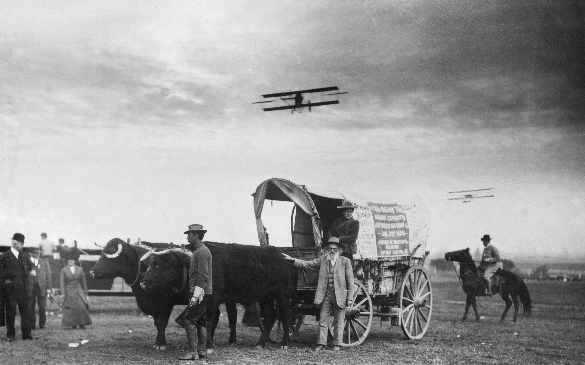 Oregon Trail pioneer Ezra Meeker traveled by oxcart from New York to witness the Air Meet.  ( USC Libraries Special Collections)