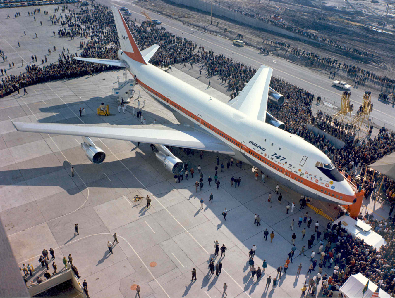 The rollout of the prototype 747 in 1969.  (Boeing Archives)