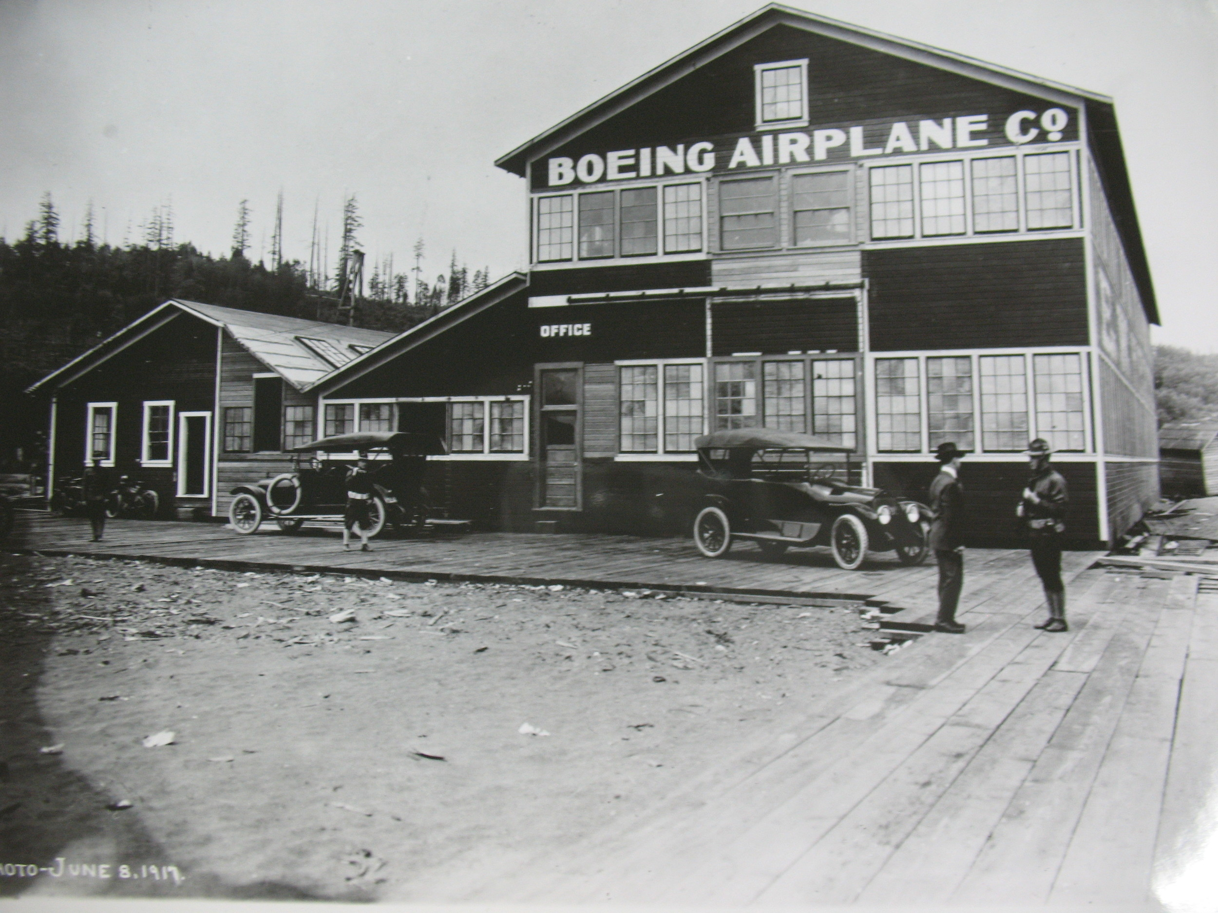 The Boeing Company's original manufacturing plant as it appeared in 1917.  (The Museum of Flight)