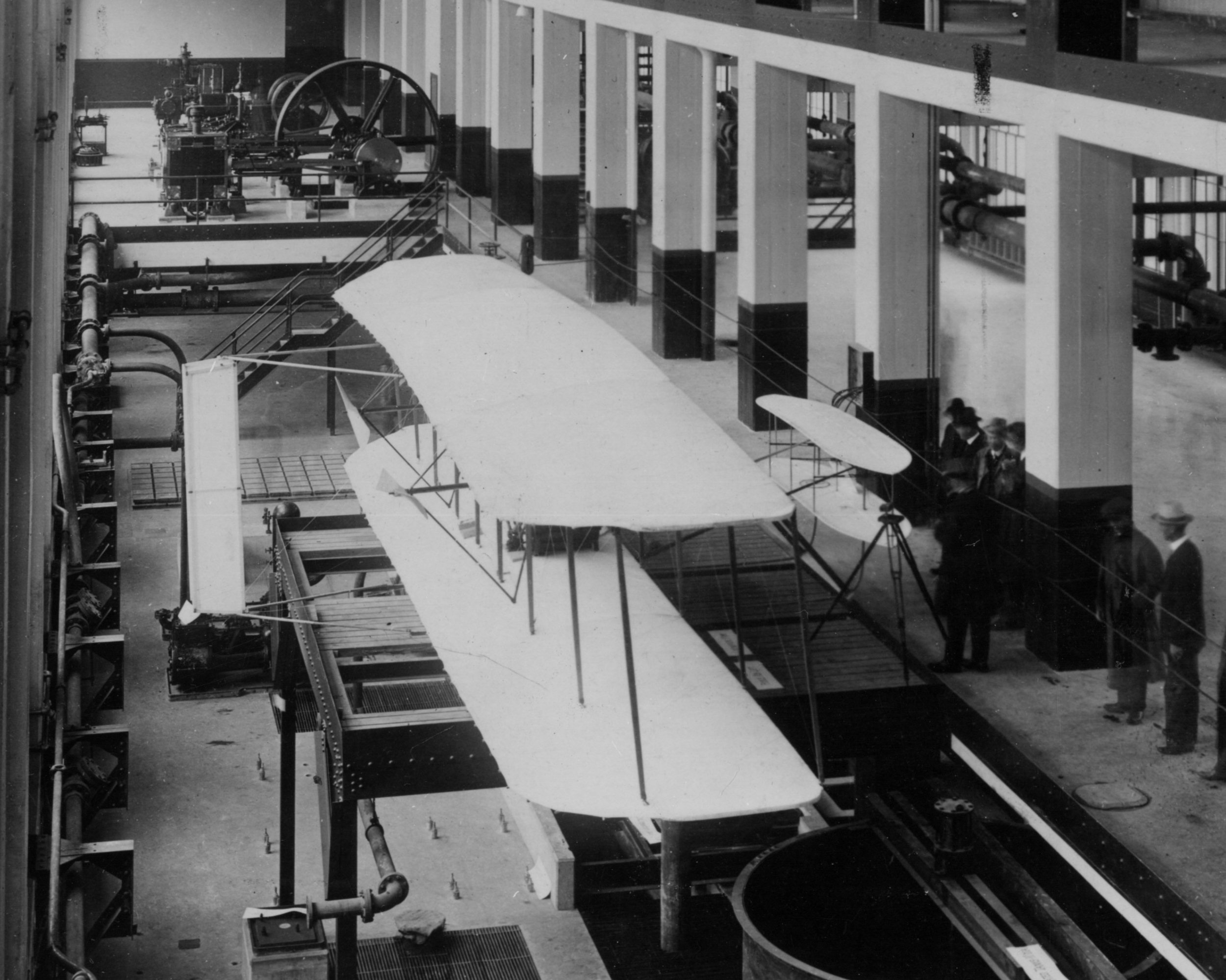 The 1903 Wright Flyer on display at MIT in 1916.