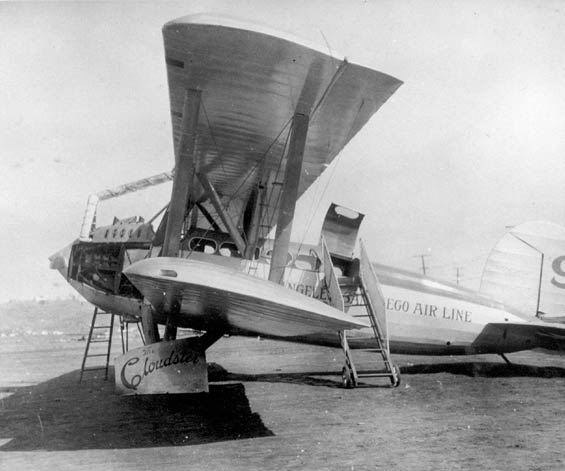 The  Cloudster  was later rebuilt as an airliner and sold to Claude Ryan. With the ability to carry 12 passengers, the  Cloudster  became the flagship of Ryan's San Diego–to–Los Angeles airline, one of the first scheduled passenger lines in the country. (San Diego Air & Space Museum)