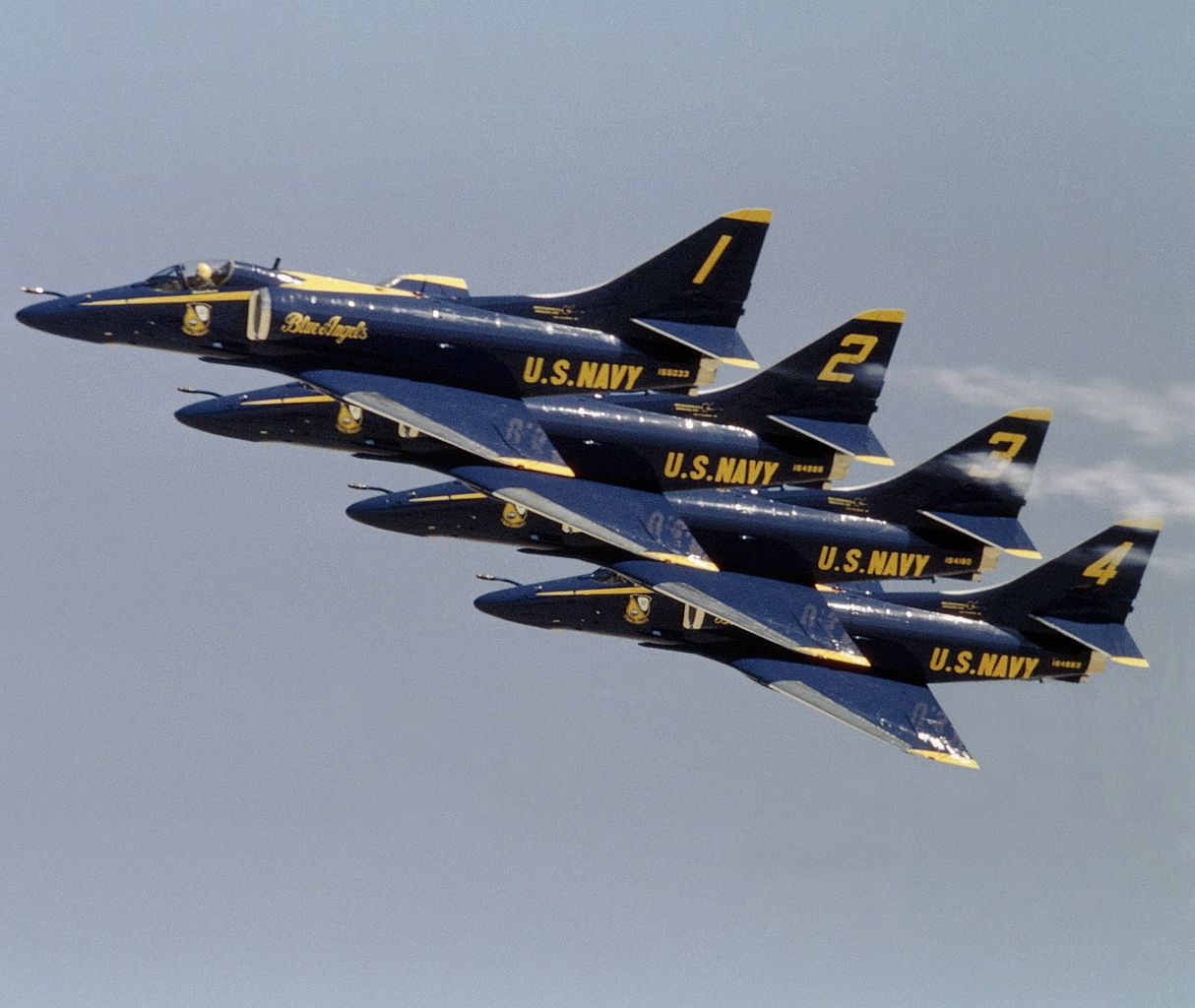 The nimble Douglas A-4 Skyhawk was pressed into service in the early years of the Vietnam War. From 1974 to 1986 they were flown by the Blue Angels.                  (U.S.   Defense Imagery)