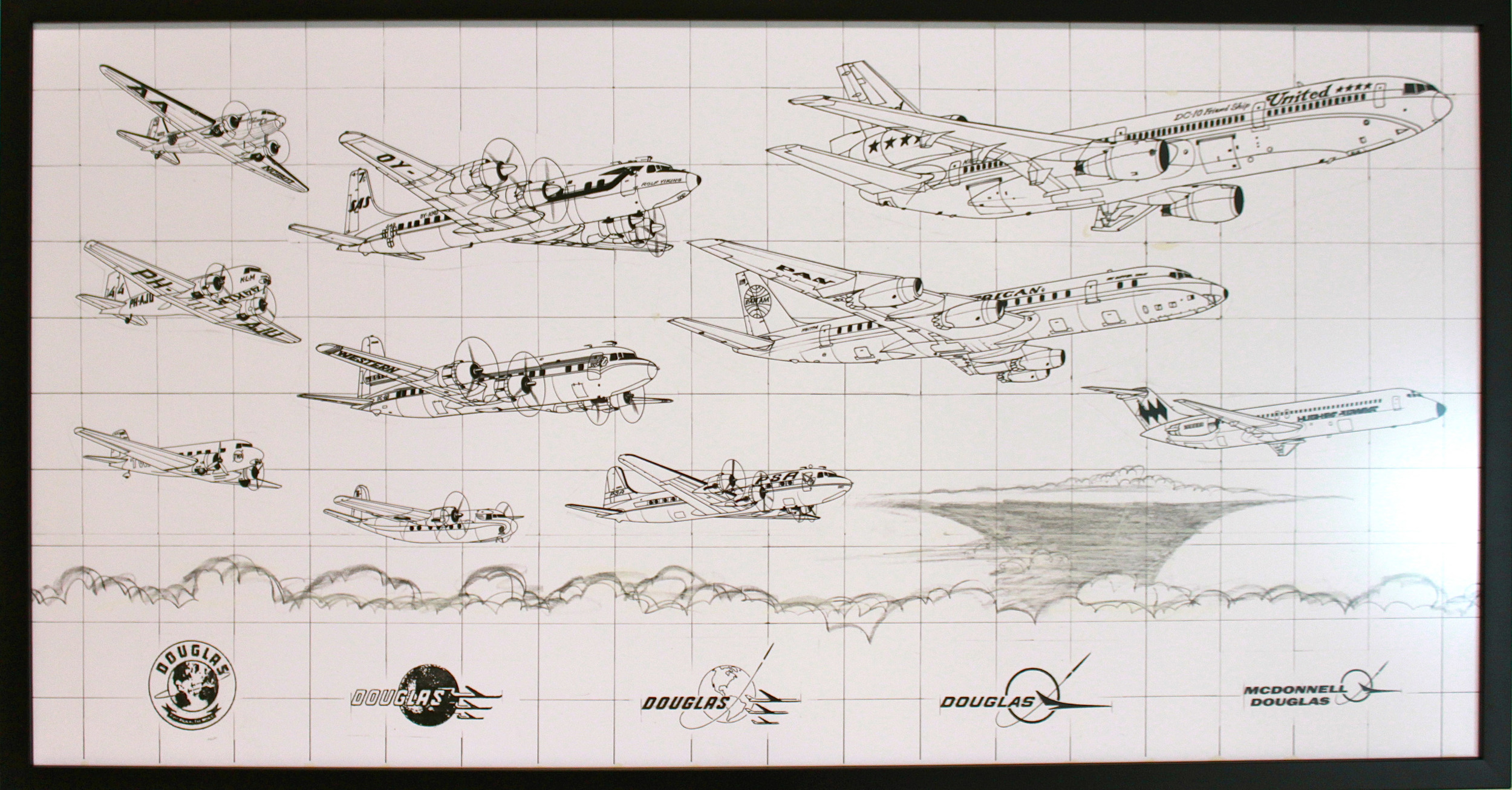 An artist sketch showing the evolution of Douglas commercial aircraft and their company logo.  (San Diego Air & Space Museum)