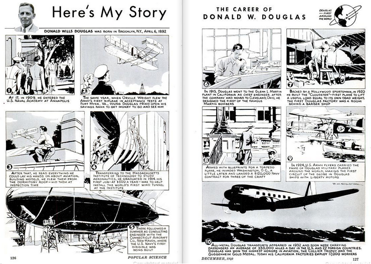 An illustrated bio from a vintage issue of Popular Mechanics.  (Popular Mechanics)