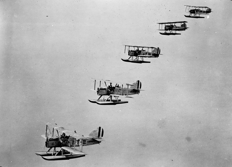 A squadron of DT-2s over Hawai'i.  (San Diego Air & Space Museum)
