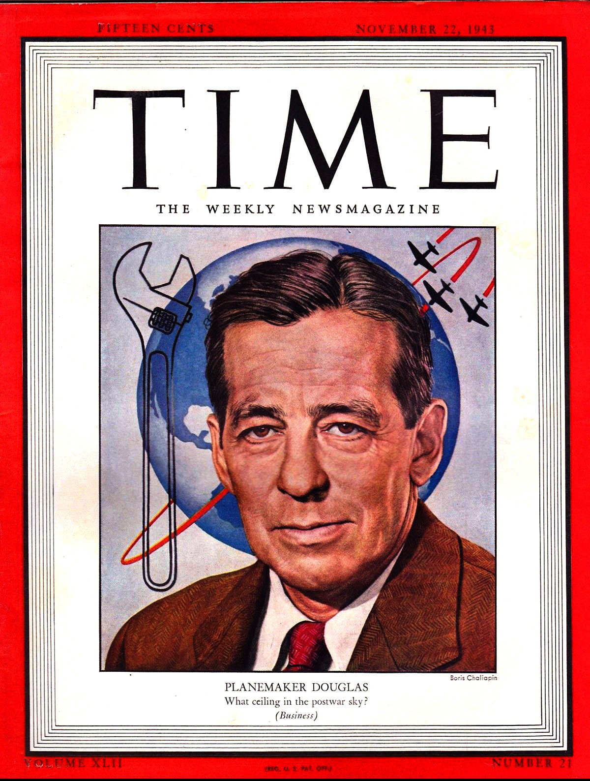 "Donald graced the cover of Time Magazine, November 22, 1943. In the article fellow aircraft design Major Alexander  de  Seversky was quoted,  ""Donald Douglas [is] the cornerstone of American air power""   (Time Inc)"