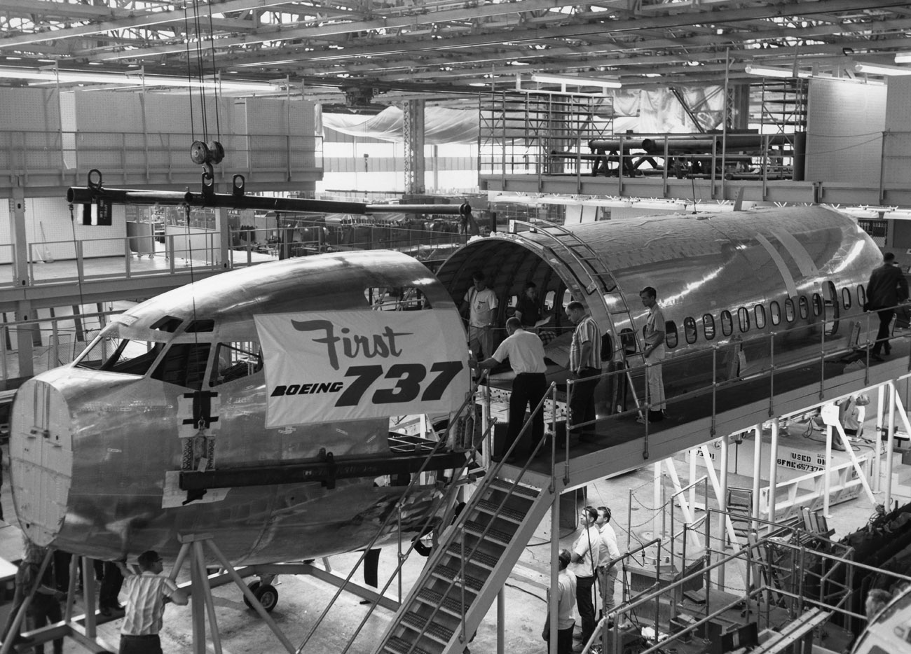 Boeing has built over 8,960 737's since the first one rolled off the line in 1966. As of 2006, there were an average of 1,250 Boeing 737's airborne at any given time, with two departing or landing somewhere every five seconds.  (Boeing)