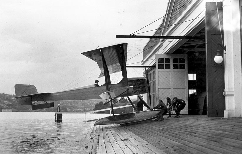 The B&W is pulled up ramp at the Lake Union seaplane hangar.  (The Museum of Flight)