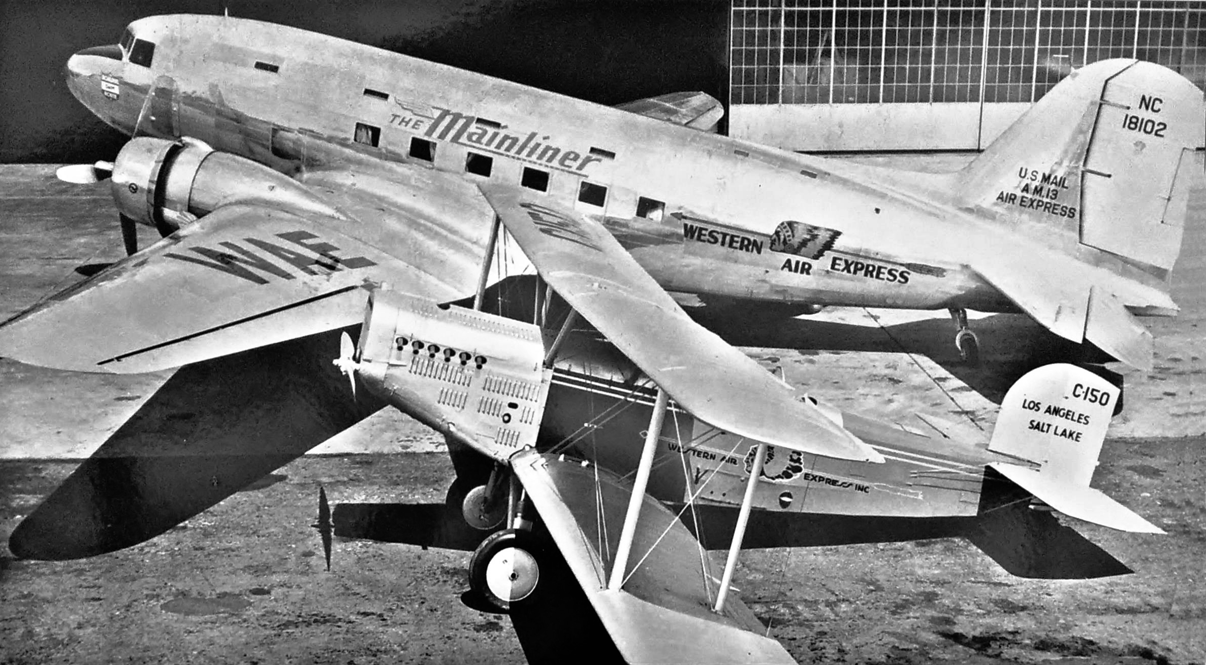 Perhaps the most famous Douglas aircraft, the DC-3,  with a Douglas M-2 mail plane.  (San Diego Air & Space Museum)