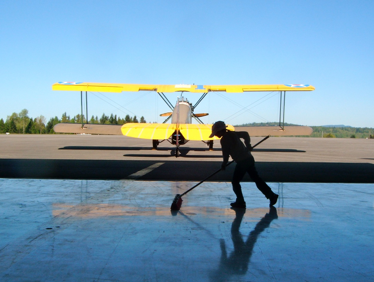 Ava preps the Arlington Flight Services hangar for our flight test program.