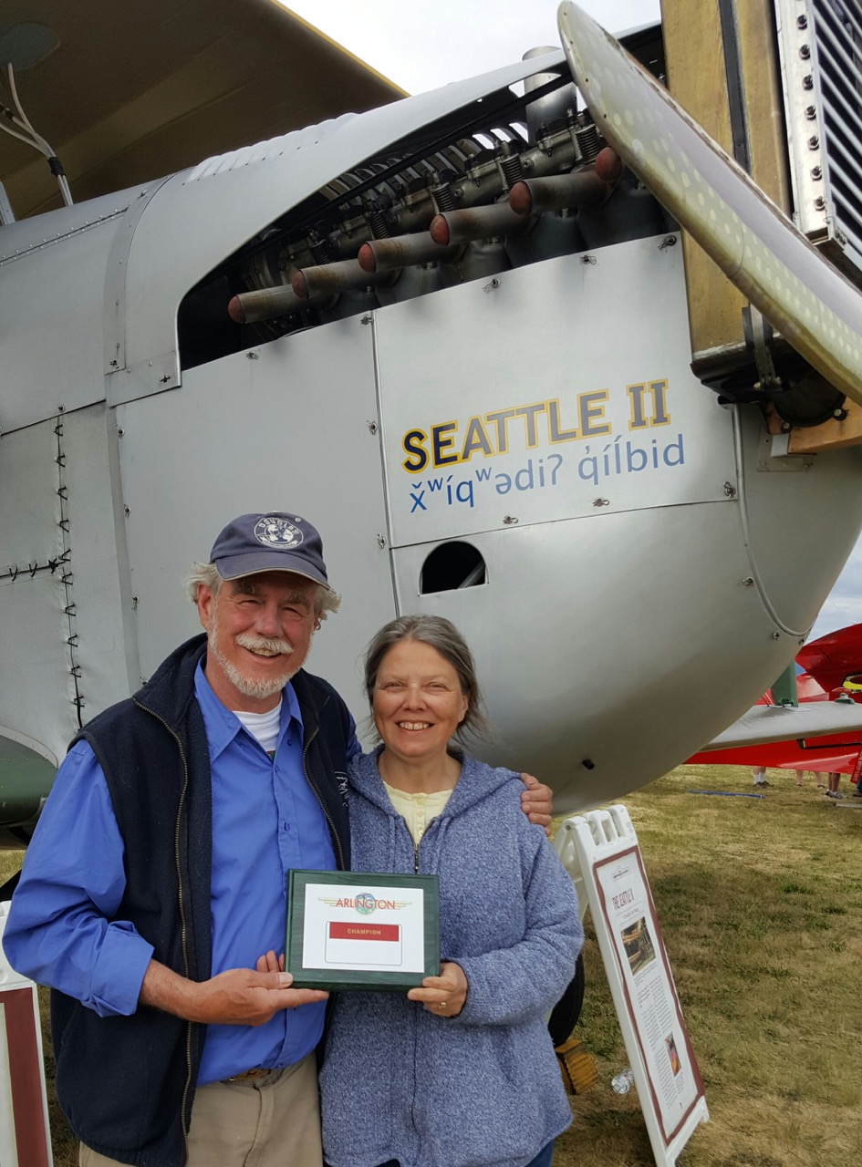 Bob & Diane receive, on behalf of all our great volunteers, the Vintage Award at the Arlington Air Show.