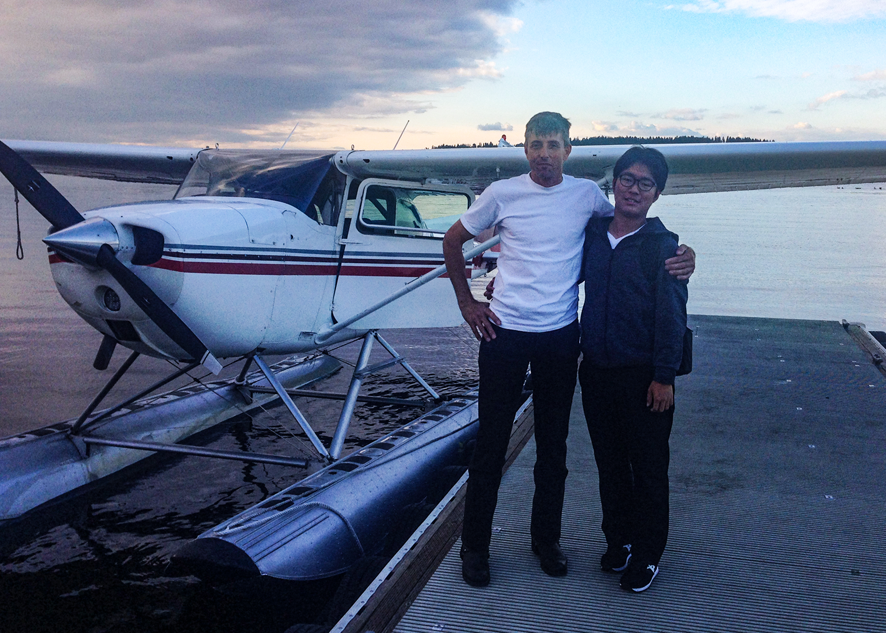 James Young, Bob's crew-mate on seaplane flights, gave Masahiro a wonderful sunset seaplane flight. James owns the  Seaplane Scenics  which offers land and seaplane instruction, and also gives scenic flights of the area