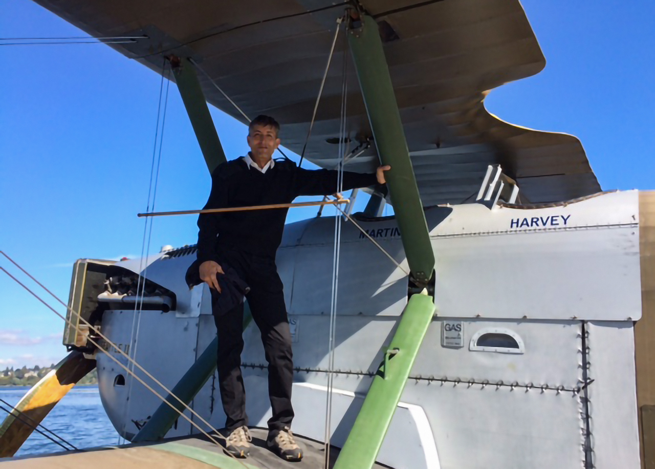 James Young, Bob's seaplane instructor for the float trials.