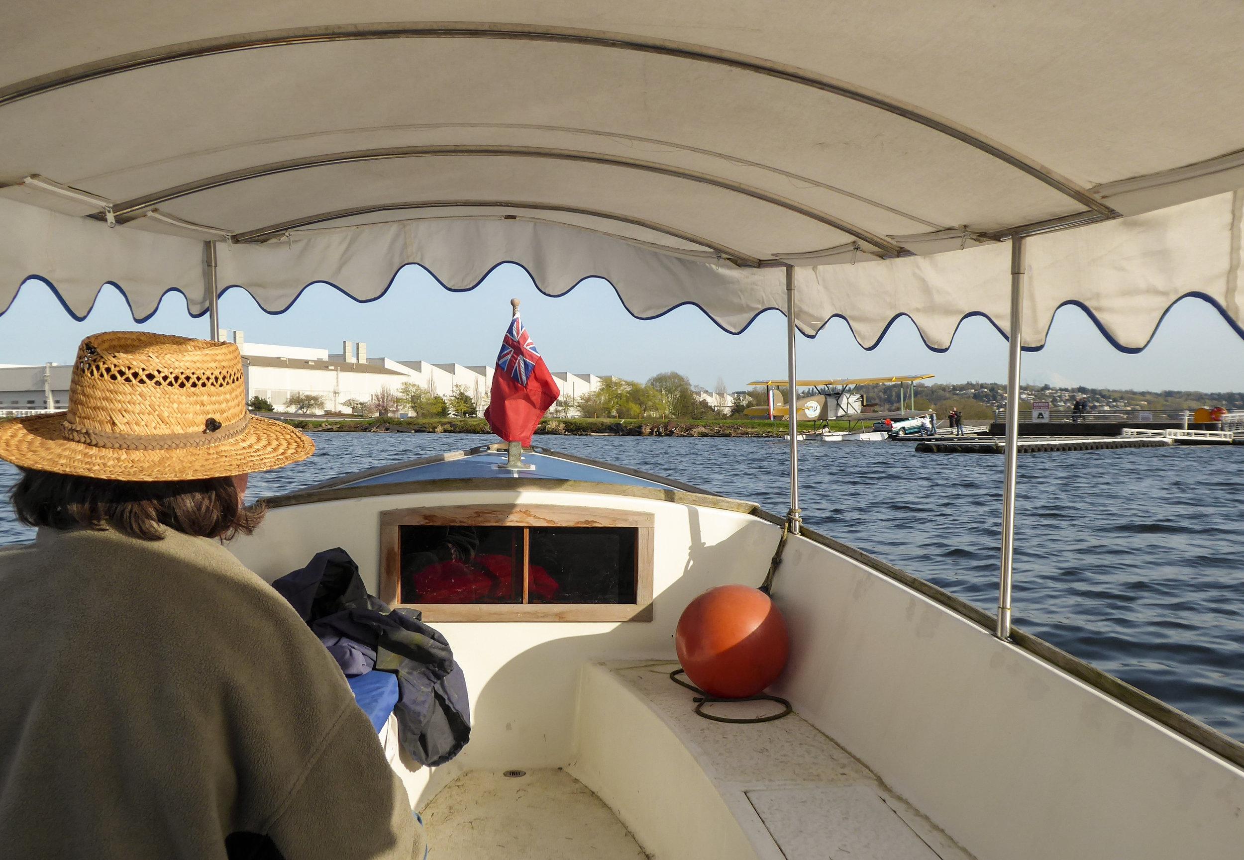 Navigator Joellen keeps them headed for the Renton seaplane dock.