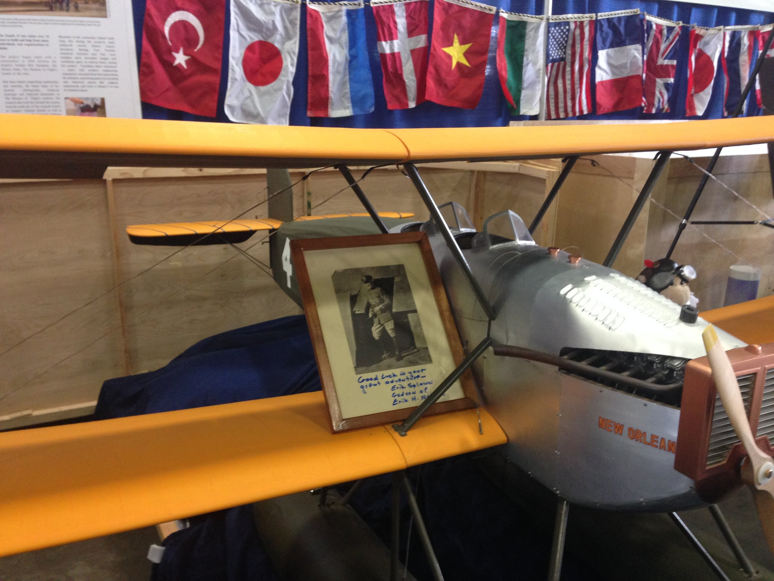 This framed photo of Lt. Erik Nelson  (pilot of the World Cruiser New Orleans)   was brought to the show and donated by Erik's godson, Erik Splawn!