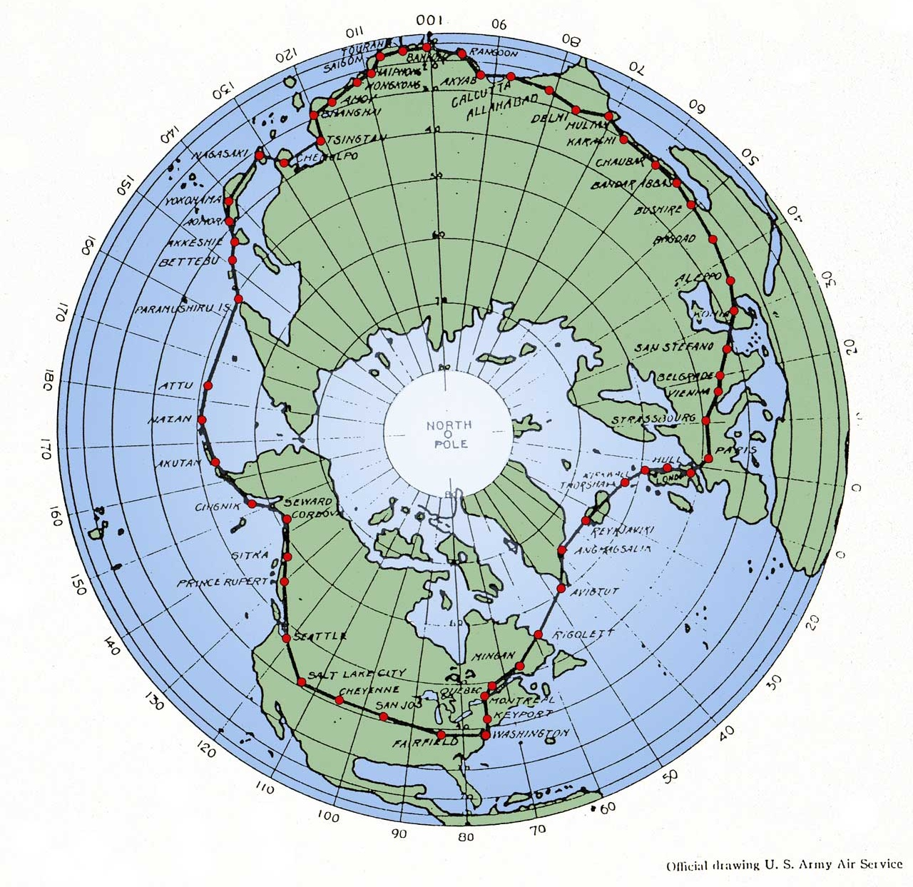 Polar map showing the originally proposed route for the 1924 flight. (National Archives)