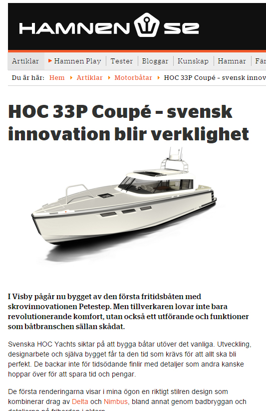 Read more about the HOC 33P on  Projects  or  Hamnen.se