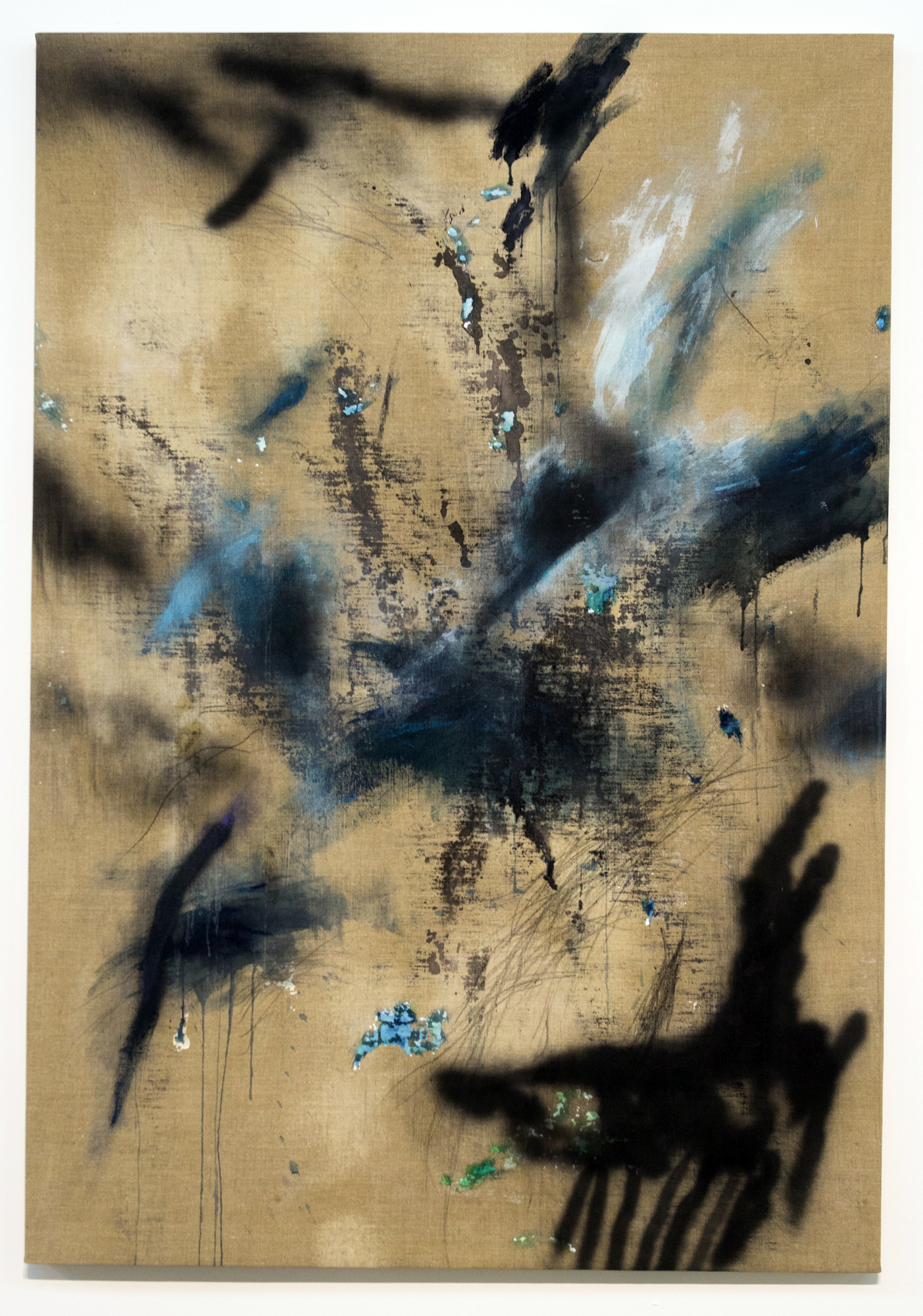 MLSL_07_Ritani  , 2015  Oil, acrylic, lead and spray paint on linen  67 x 46.5 in (170.18 x 118.11 cm)