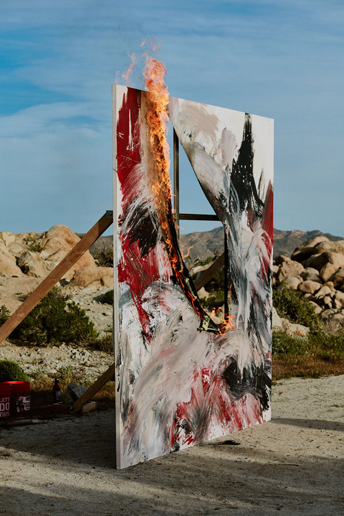 Uprising—, 2019  Acrylic, stainless steel, wood  120 x 120 x 105 inches