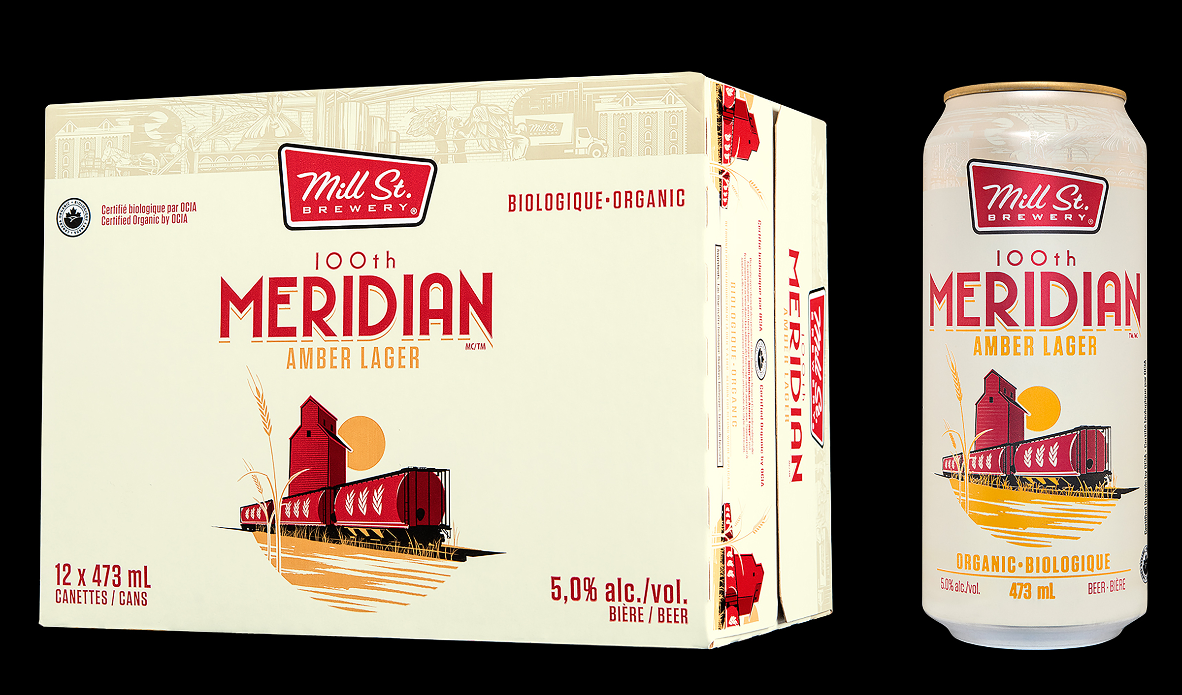 Packaging Design of 100th Meridian Amber Lager, for Mill Street Brewery