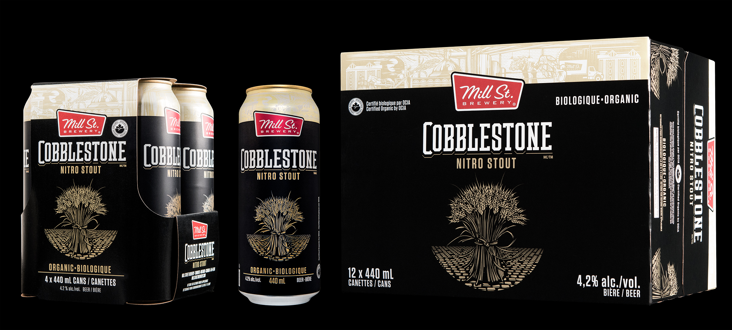 Packaging Design of Cobblestone Nitro Stout, for Mill Street Brewery