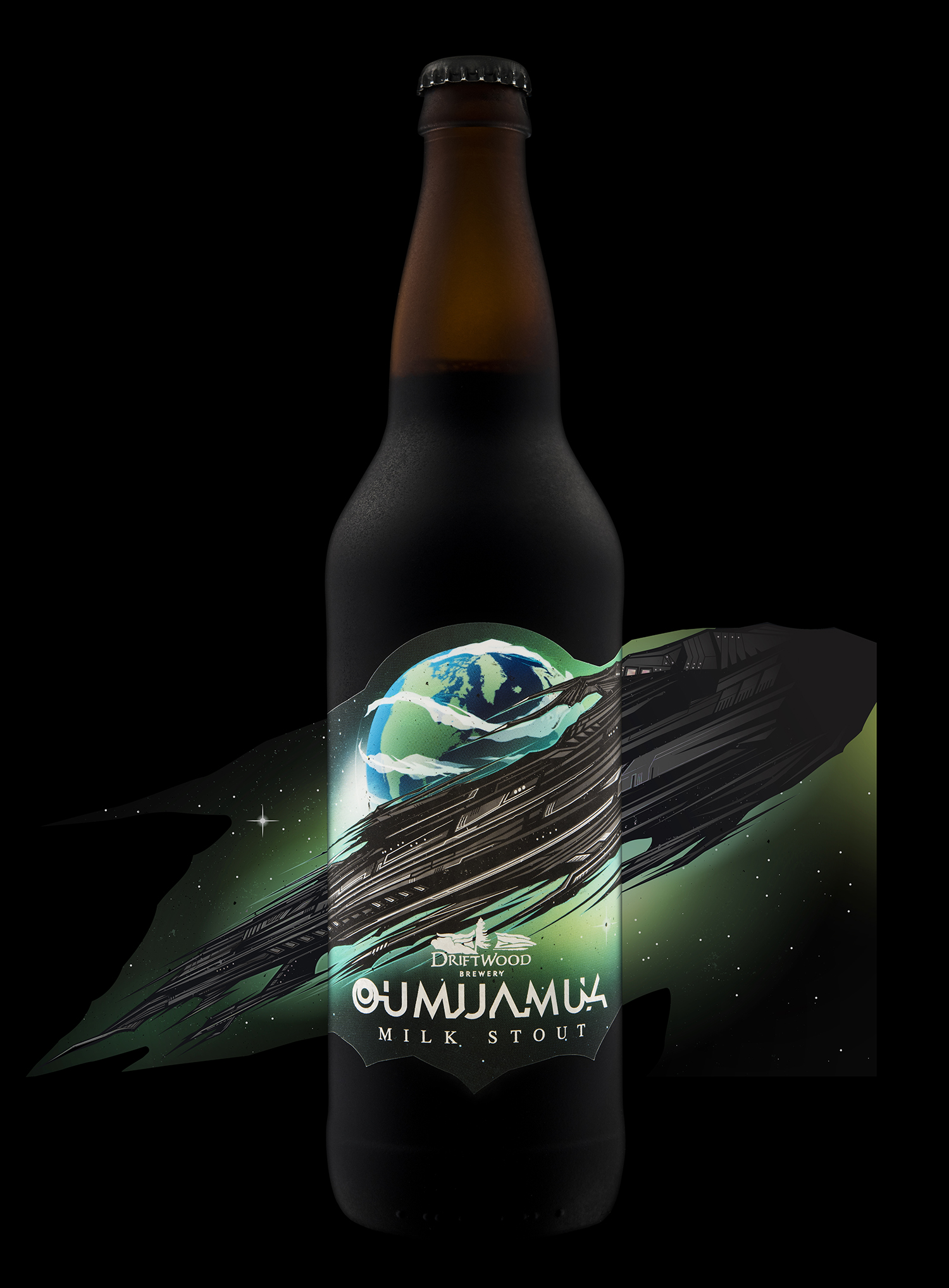 Packaging Design for Driftwood Brewery's Oumuamua Milk Stout
