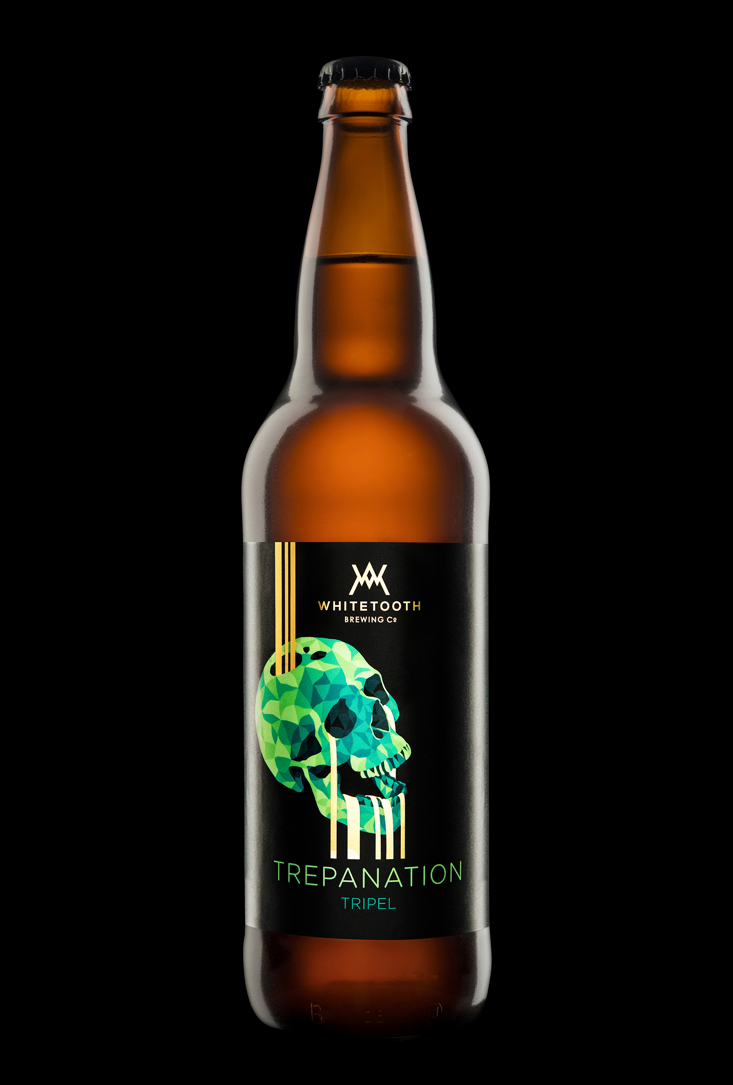 Branding and Packaging Design for Whitetooth Brewing's Trepanation Tripel
