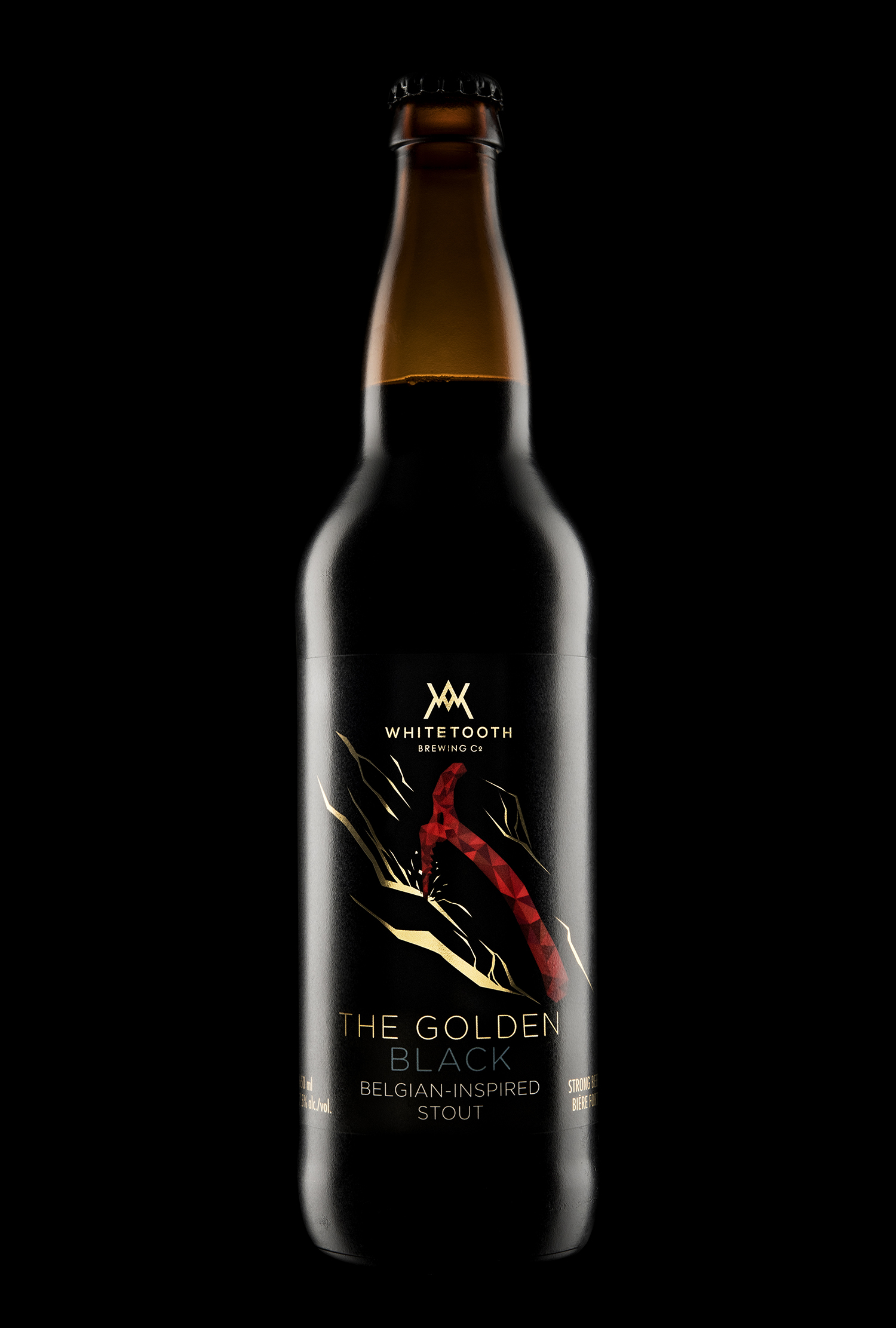 Branding and Packaging Design for Whitetooth Brewing's Golden Black Belgian-Inspired Stout