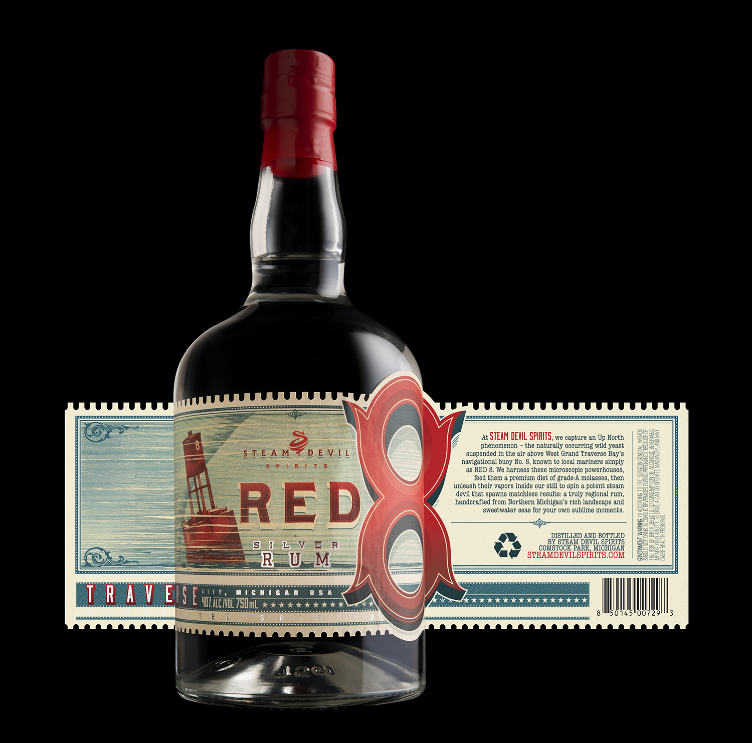 Packaging Design for Steam Devil Spirits' Red 8 Rum