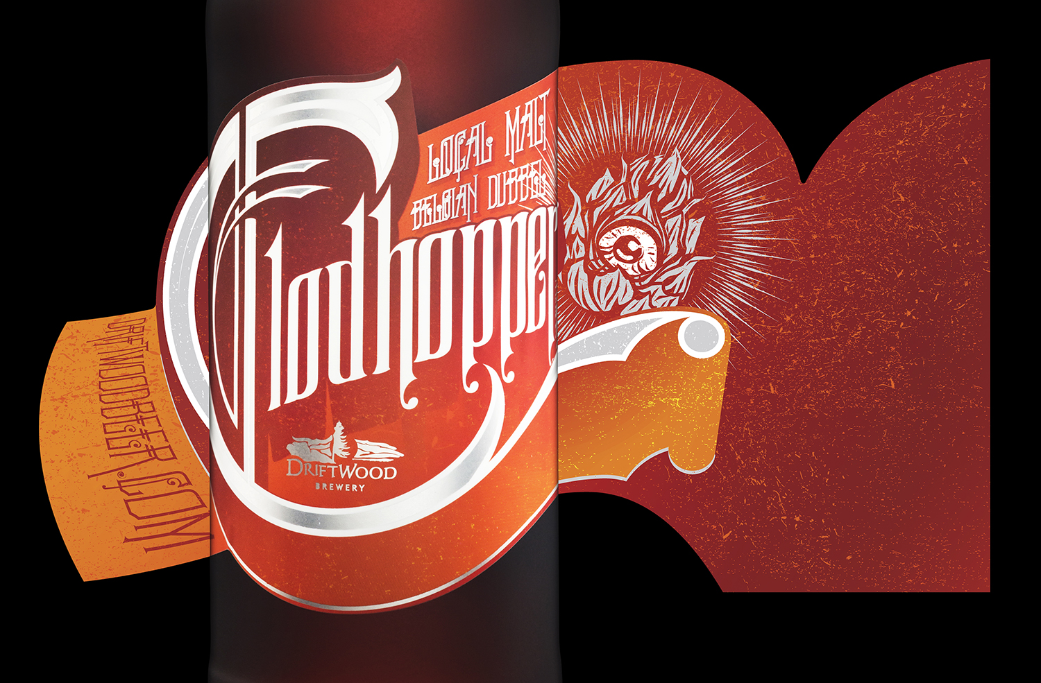 Packaging Design for Driftwood Brewery's Clodhopper Local Malt Belgian Dubbel