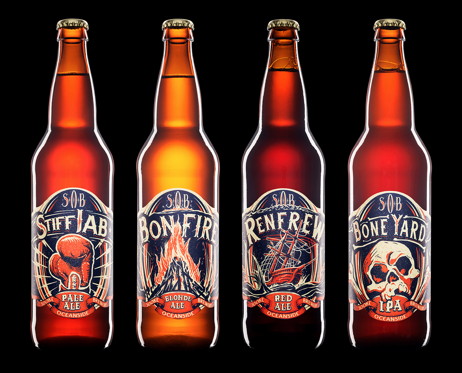 Packaging and Branding for Sooke Oceanside Brewery (SOB)