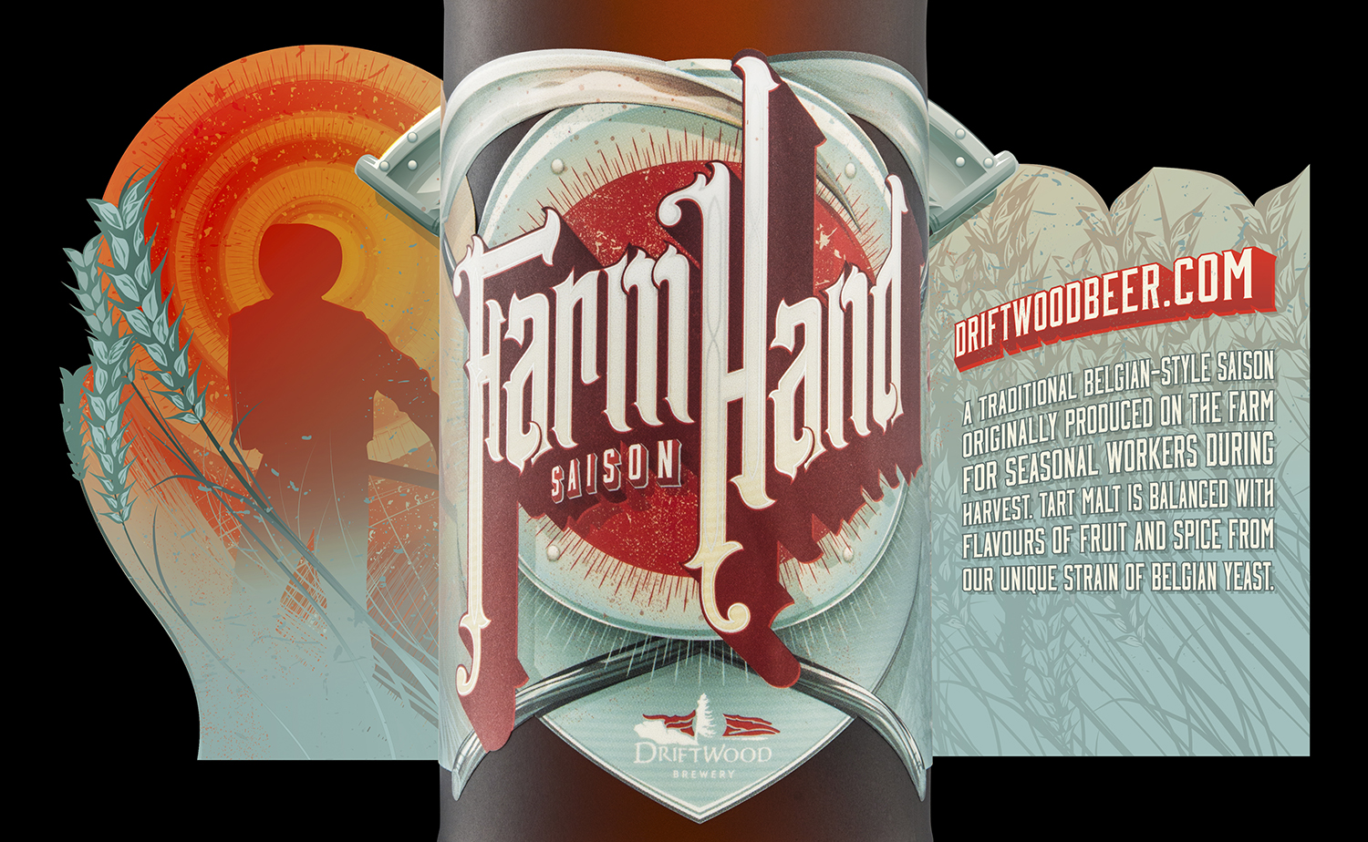 Packaging Design for Driftwood Brewery's Farmhand Saison