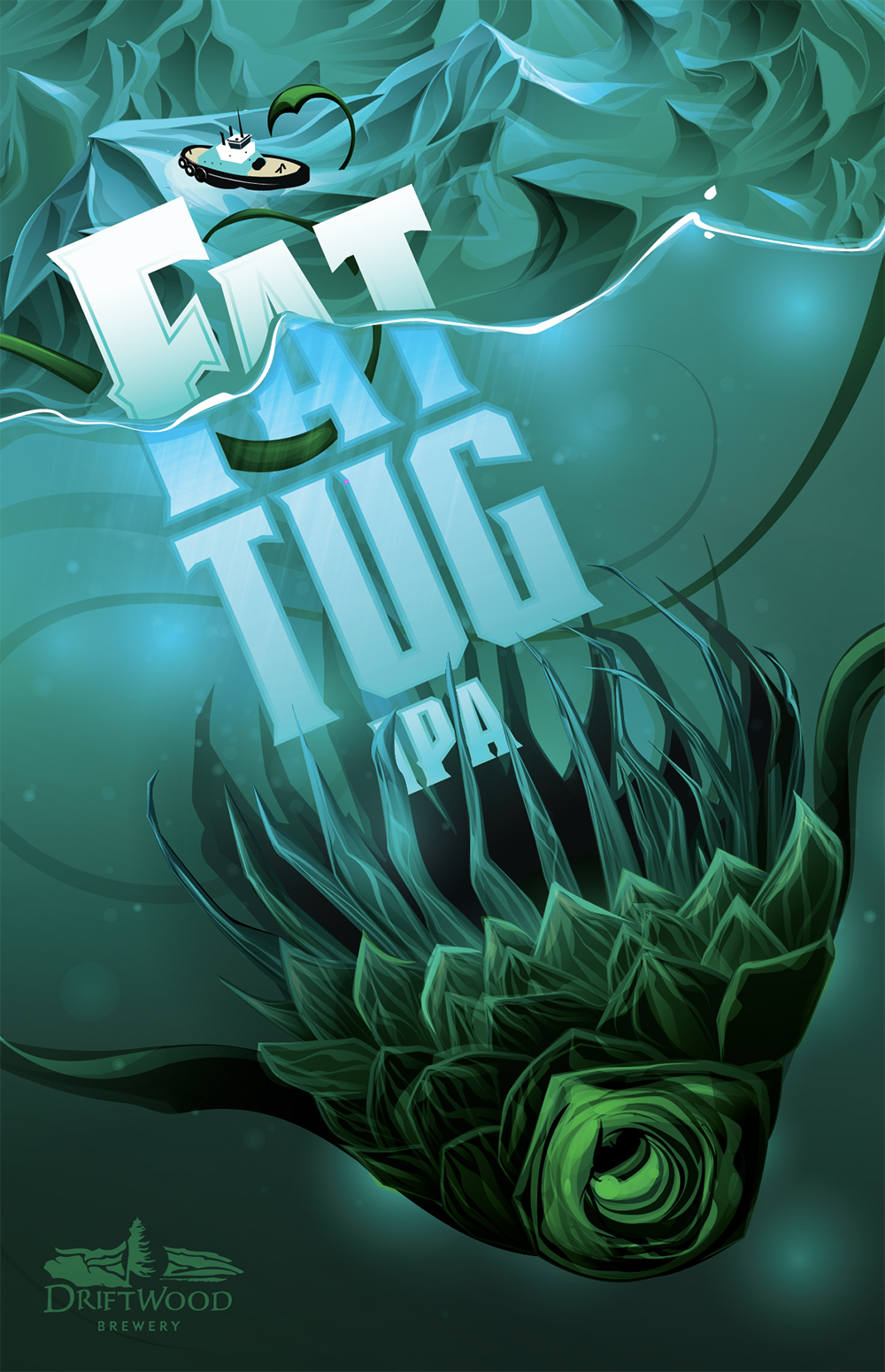 Poster Design for Driftwood Brewery's Fat Tug IPA