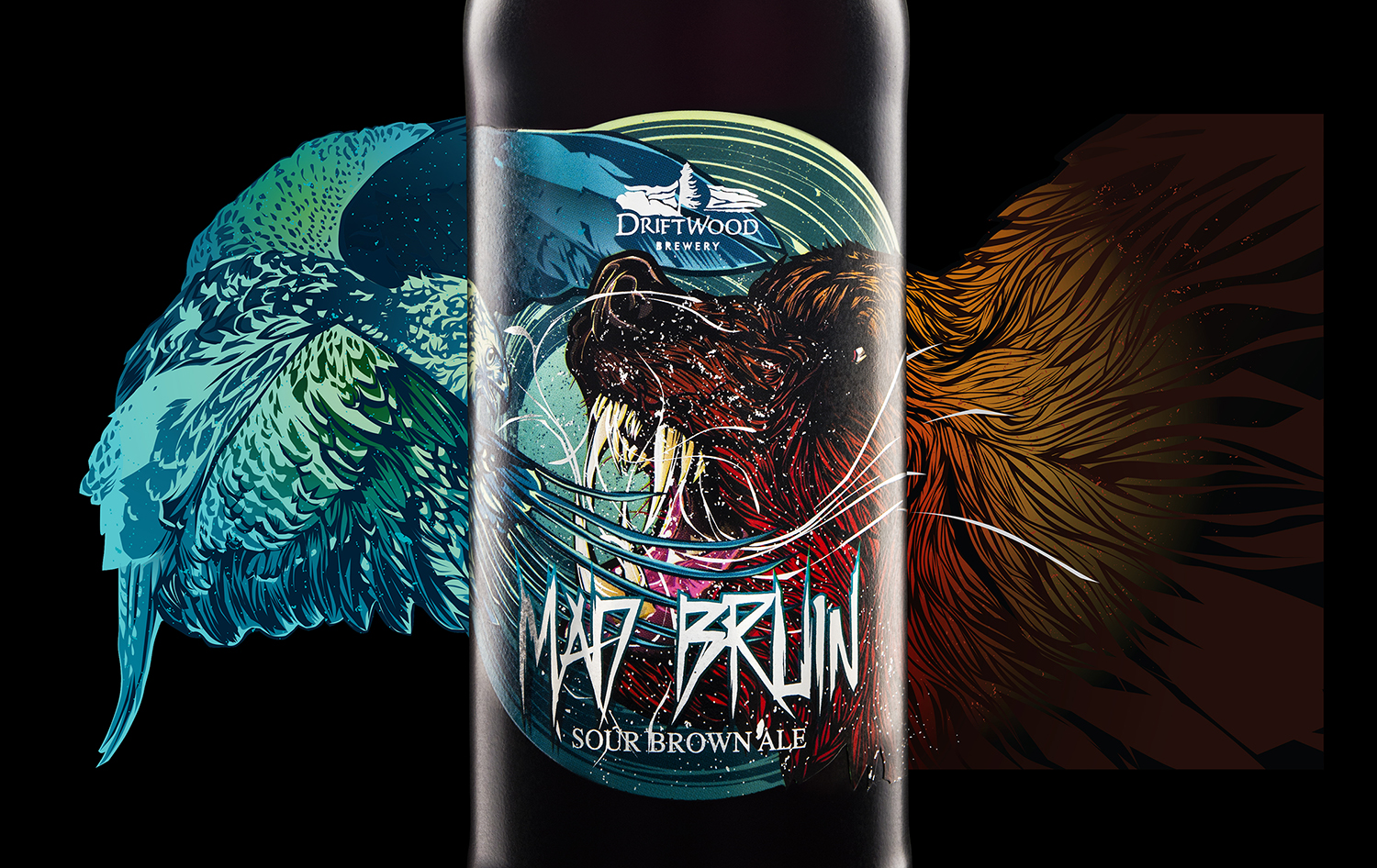 Packaging Design for Driftwood Brewery's Mad Bruin Sour Brown Ale