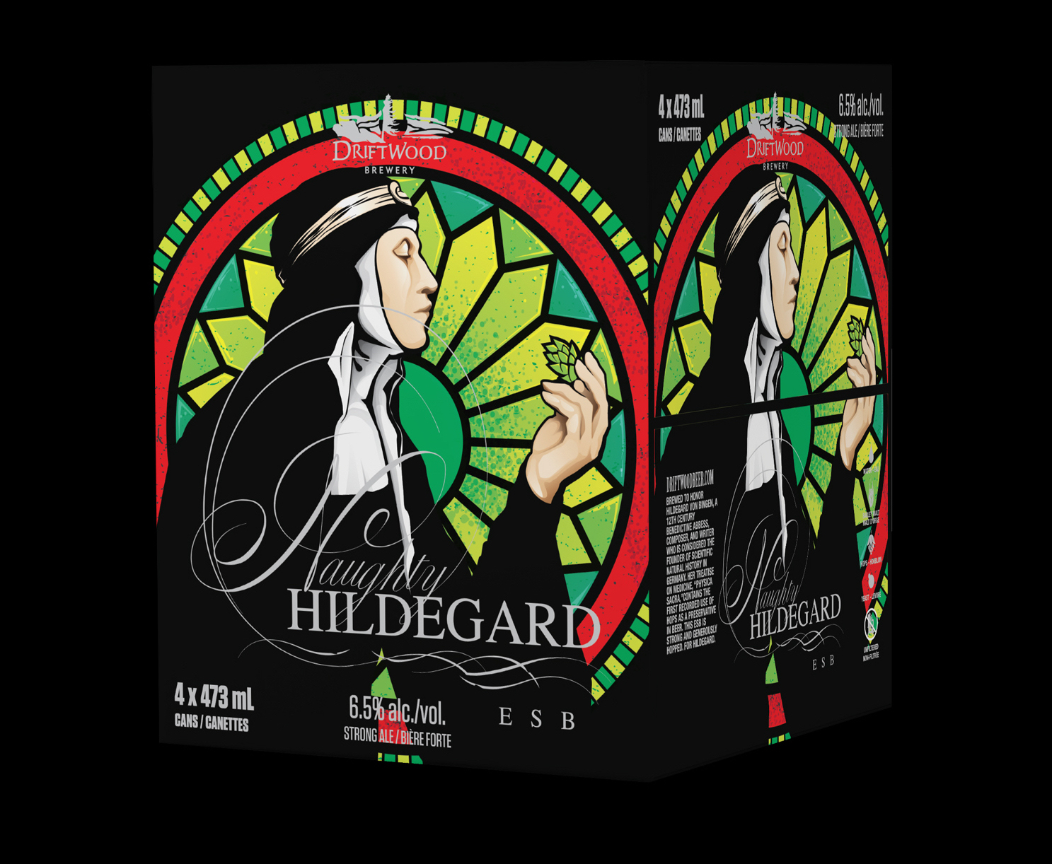 Box Design for Driftwood Brewery's Naughty Hildegard