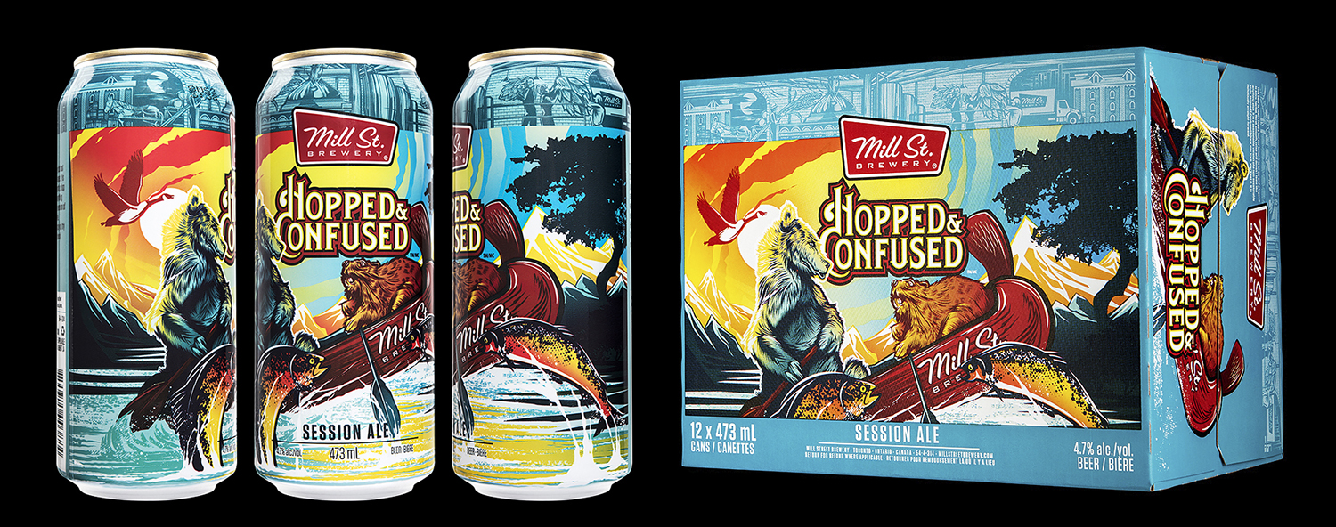 Hopped & Confused Session Ale  was a seasonal (summer) release from Mill St. Brewery that launched in 2018. It uses common design elements to anchor it to their other products (the brewery's logo, the top illustrated band, and the placement of the beer style/legal info text) but then it goes in a very different direction from their other products with the primary illustration of the Canadian animals. The liquid and the design resonated with Ontario customers; it was one of the most popular new beers in the LCBO that year.  Photo by  Sean Fenzl .