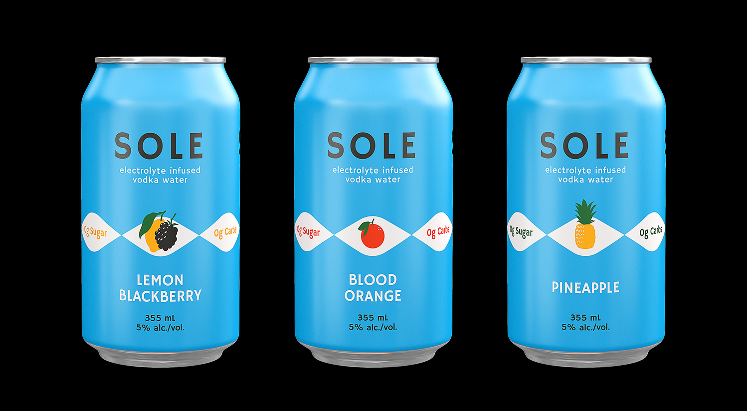 Sole Electrolyte infused vodka water lineup