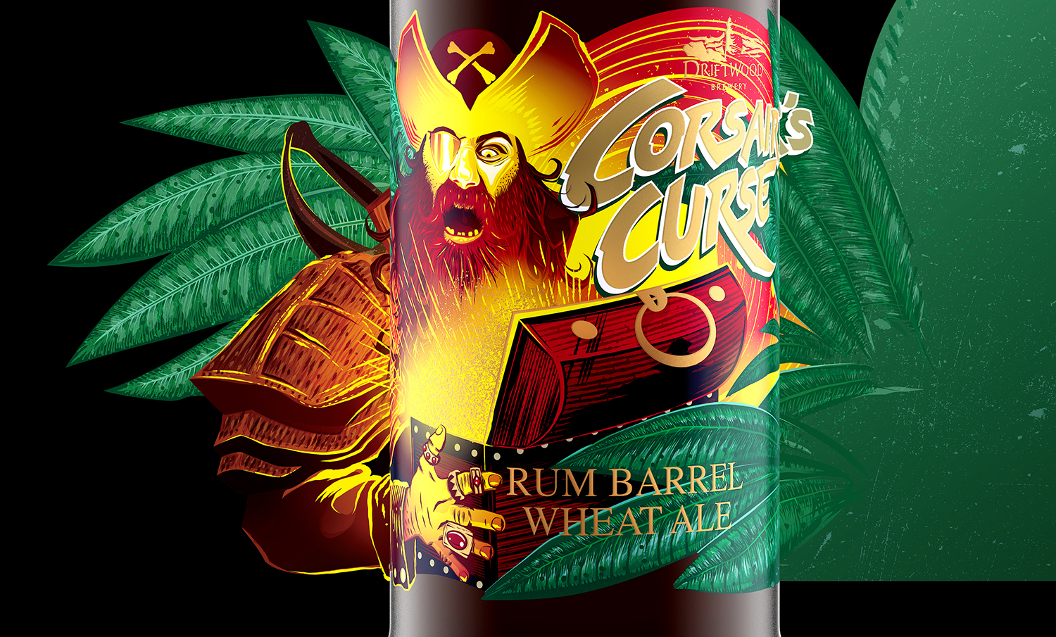 Label Design for Driftwood Brewery's Corsair's Curse Rum Barrel Wheat Ale Beer