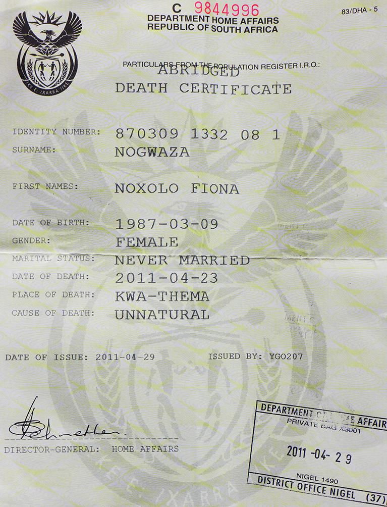 Noxolo Nogwasa, Kwa-Thema, Johannesburg