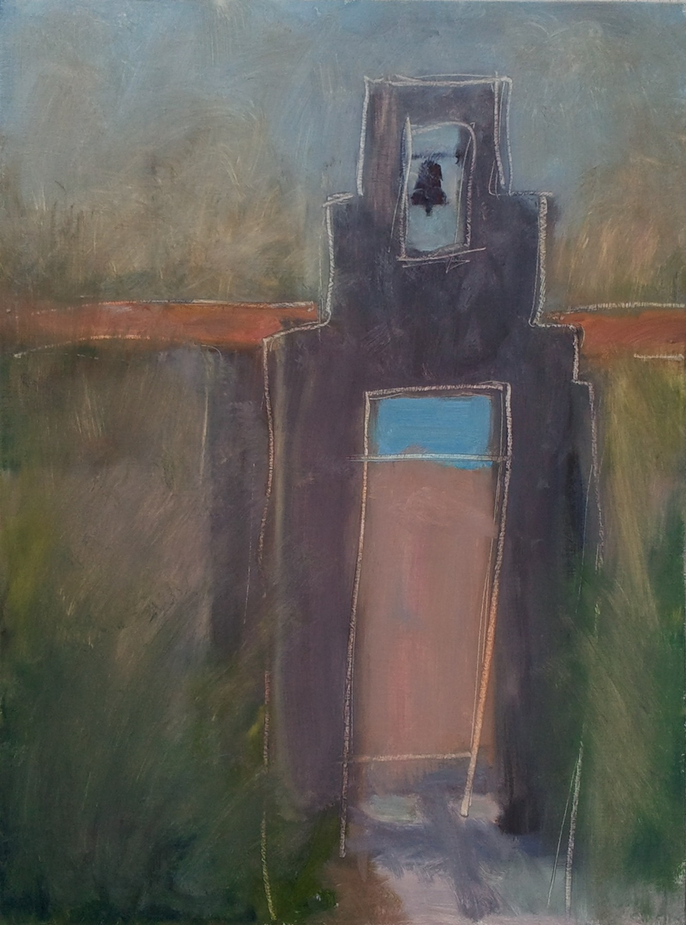 """""""Bell Gate,"""" 18""""x24"""", oil on wood."""