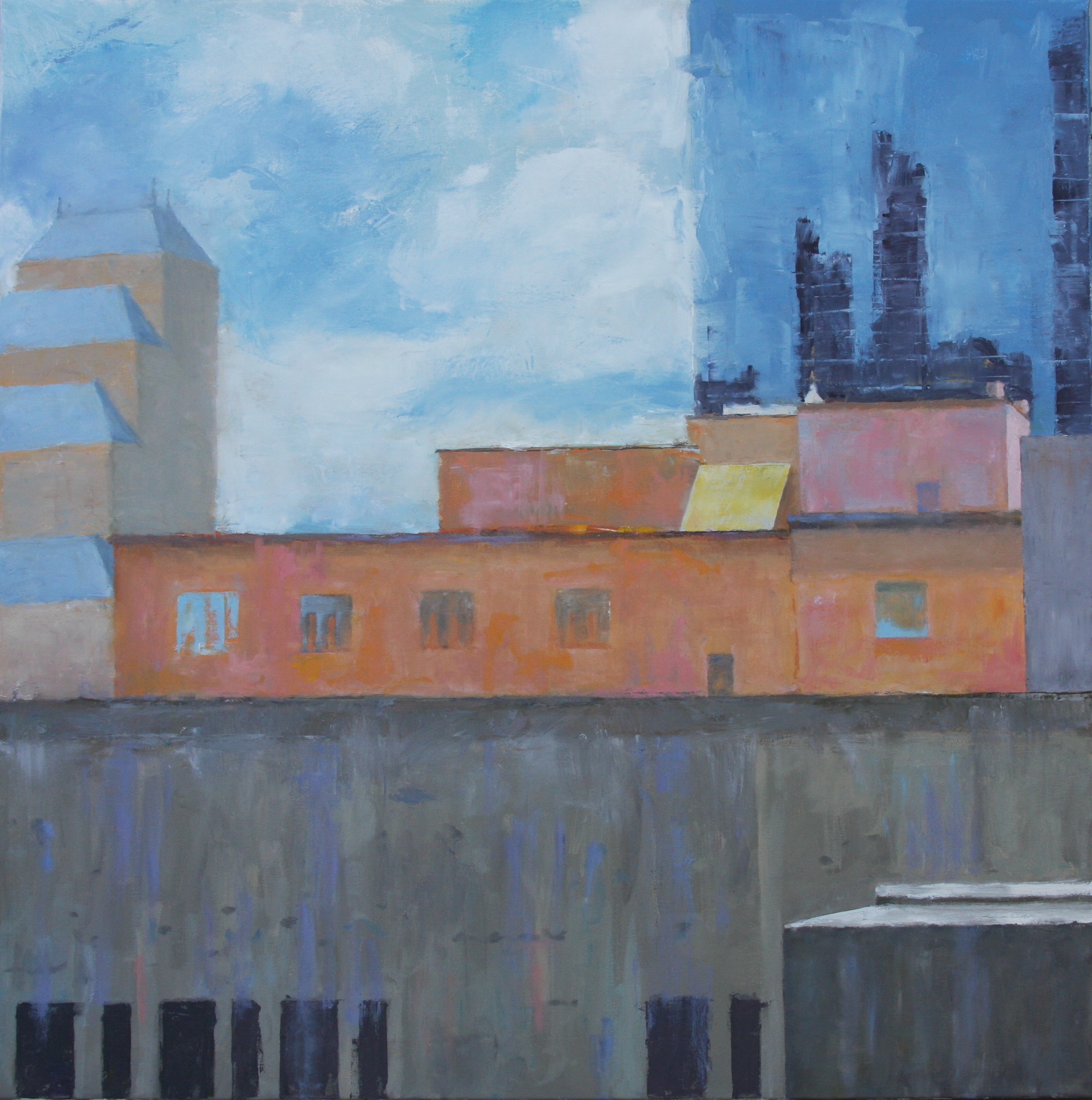 """""""Rooftops, Orlando,"""" 30""""x30"""", oil on canvas."""