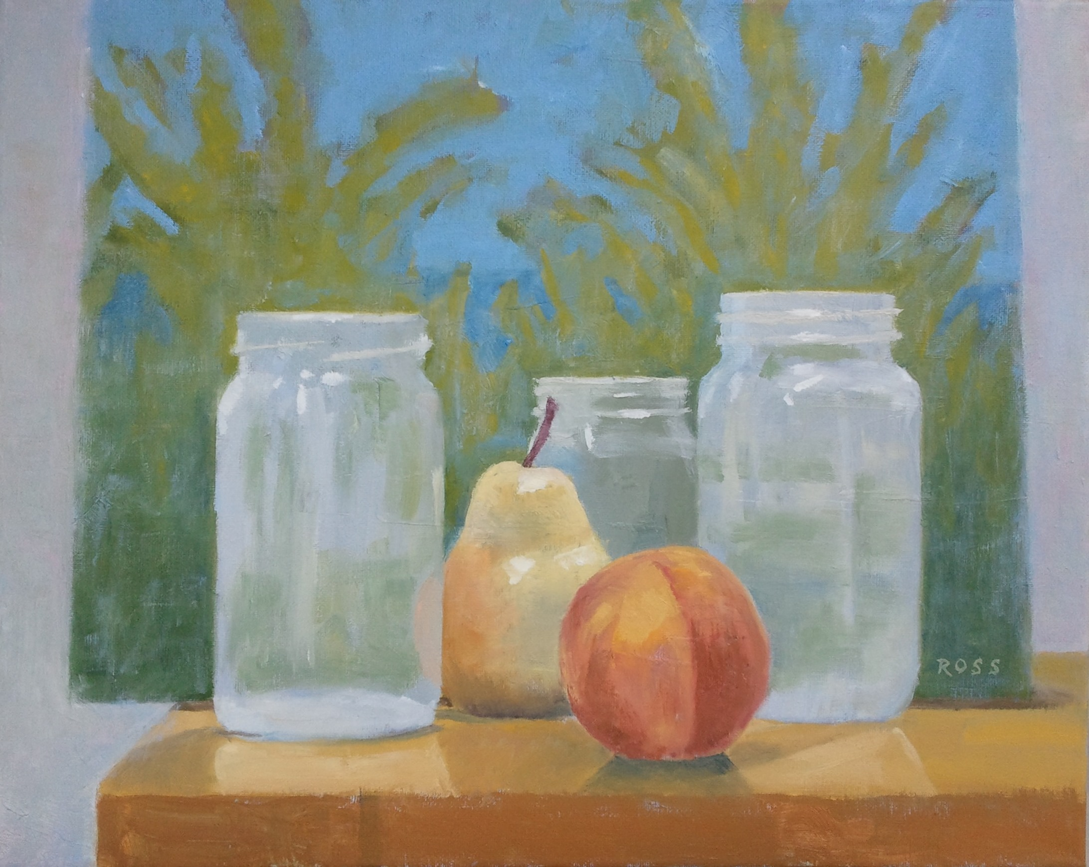 """""""Still Lifewith Jars, Fruit and Painting,"""" 16""""x20"""", oil on canvas."""