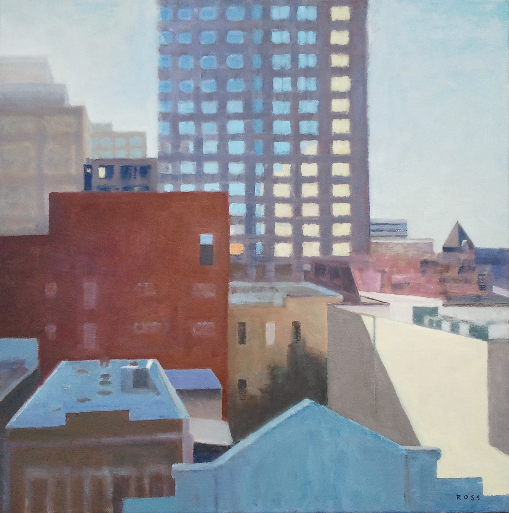 """""""Morning Rooftops,"""" 30""""x30"""", oil on canvas."""