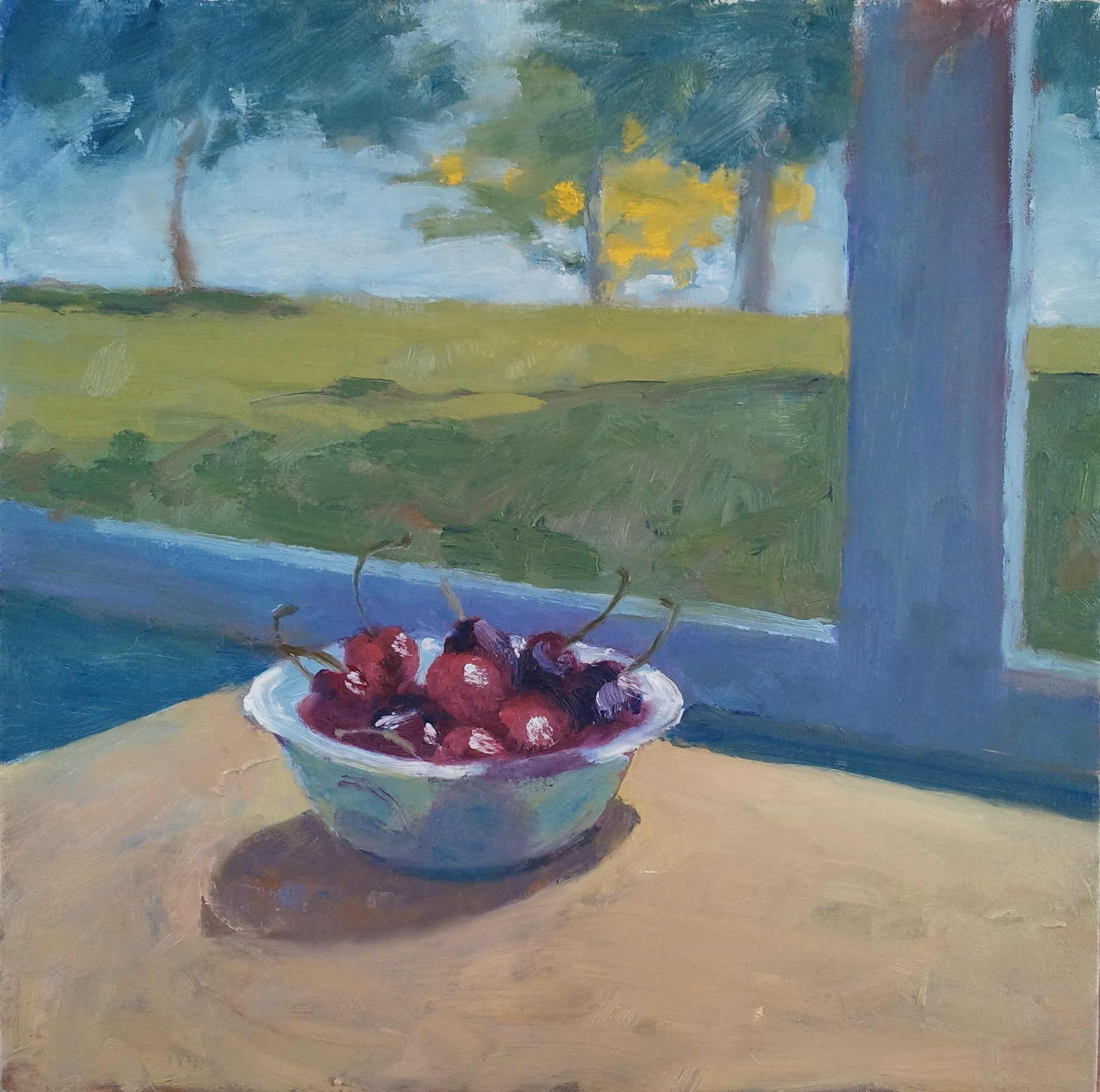 """""""Cherries by a Window,"""" 16""""x16"""", oil on canvas."""