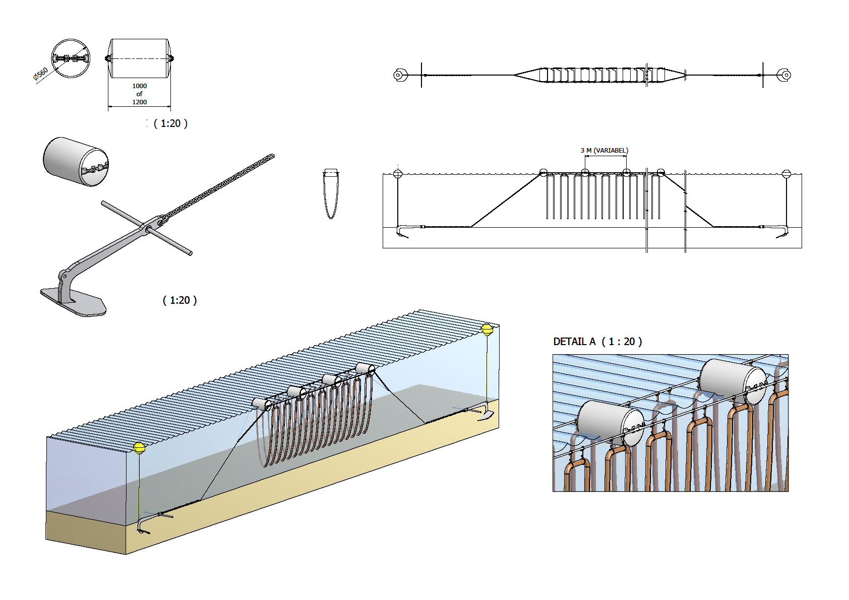 Ritning på en mussel/ostron odling / Ritning: Machinefabrik Bakker BV