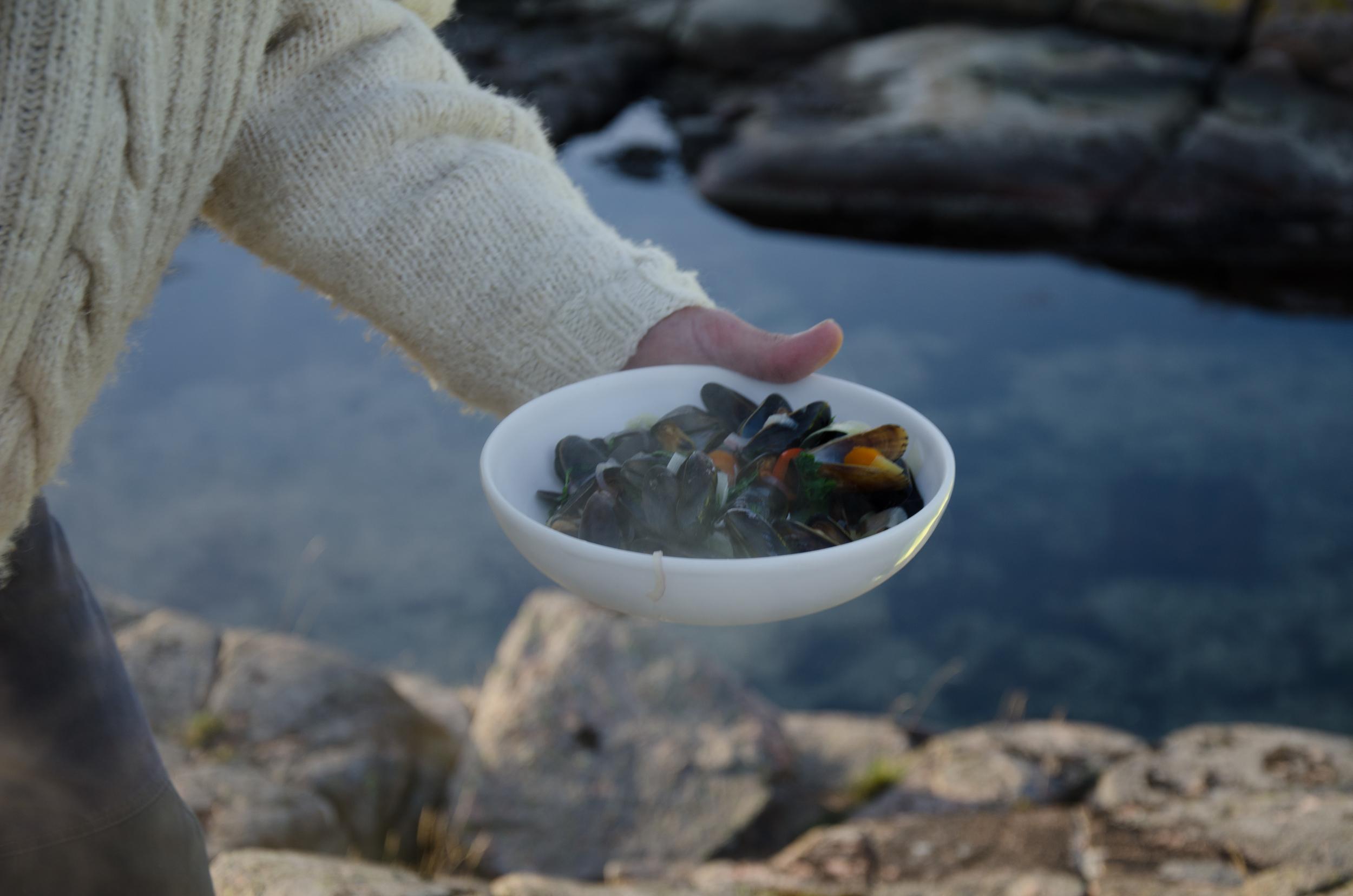 Servering av musseltalrik med nykokta musslor