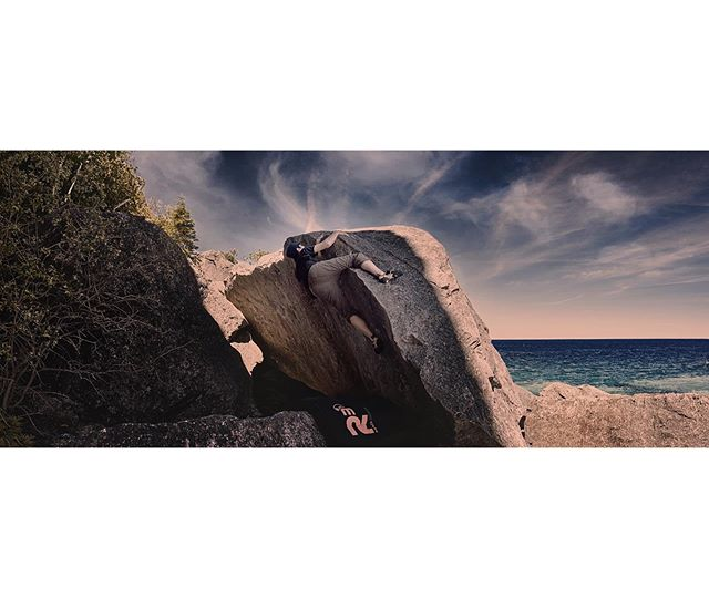 Eugene on a fun v4 called Over Arching at Halfway Log dump. . #leavenotrace . #ontario #bouldering #ontarioclimbing #ontariorockclimbing #discoveron #halfwaylogdump #tobermory #shotonfuji #fujifilm #climbinglife #climbing #pebblepinching #skylovers #nature #naturelovers #getoutside #exploreontario #explore #adventure #adventurelife #lifeofadventure #climbinginspiration #grippedmagazine